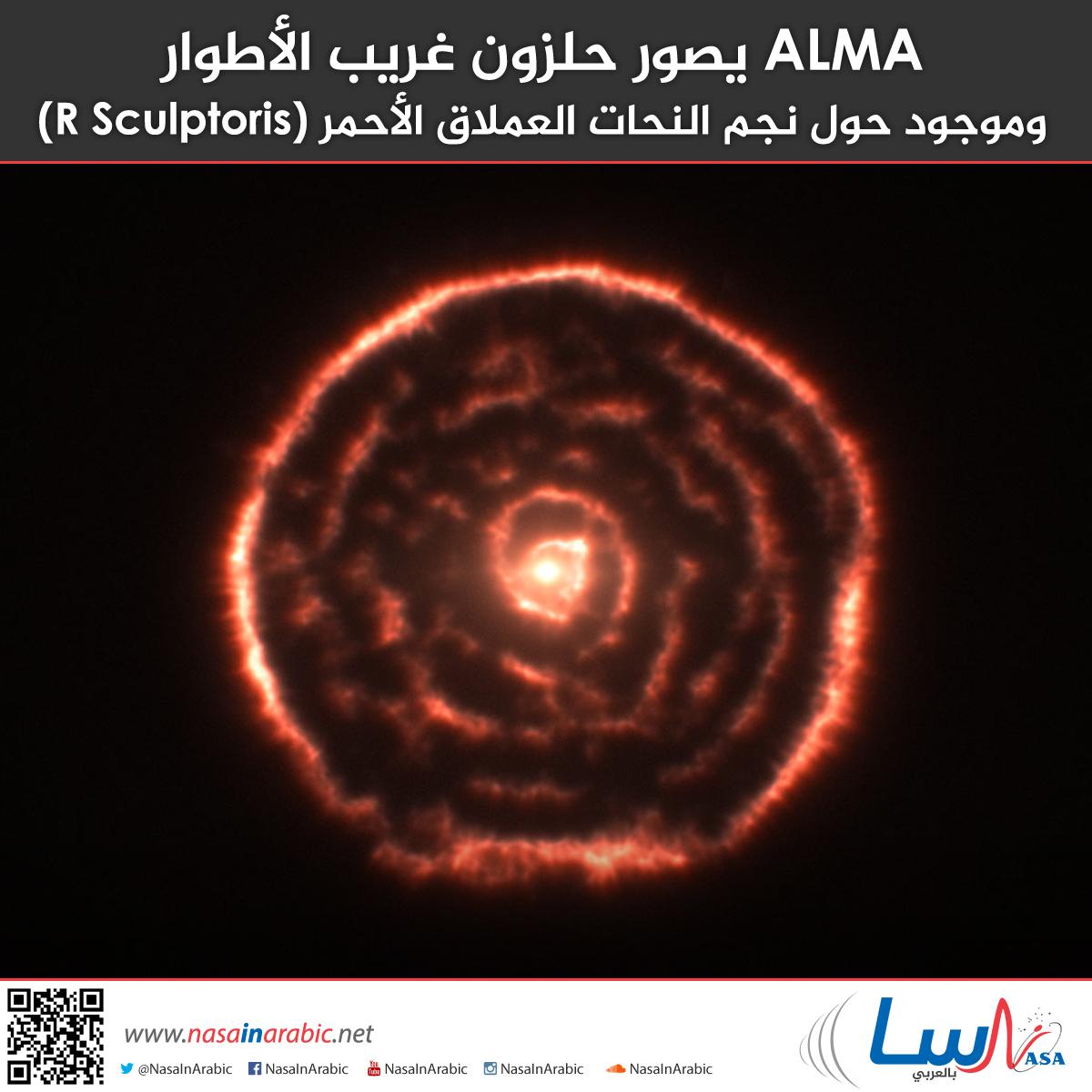 ALMA يصور حلزون غريب الأطوار وموجود حول نجم النحات العملاق الأحمر (R Sculptoris)