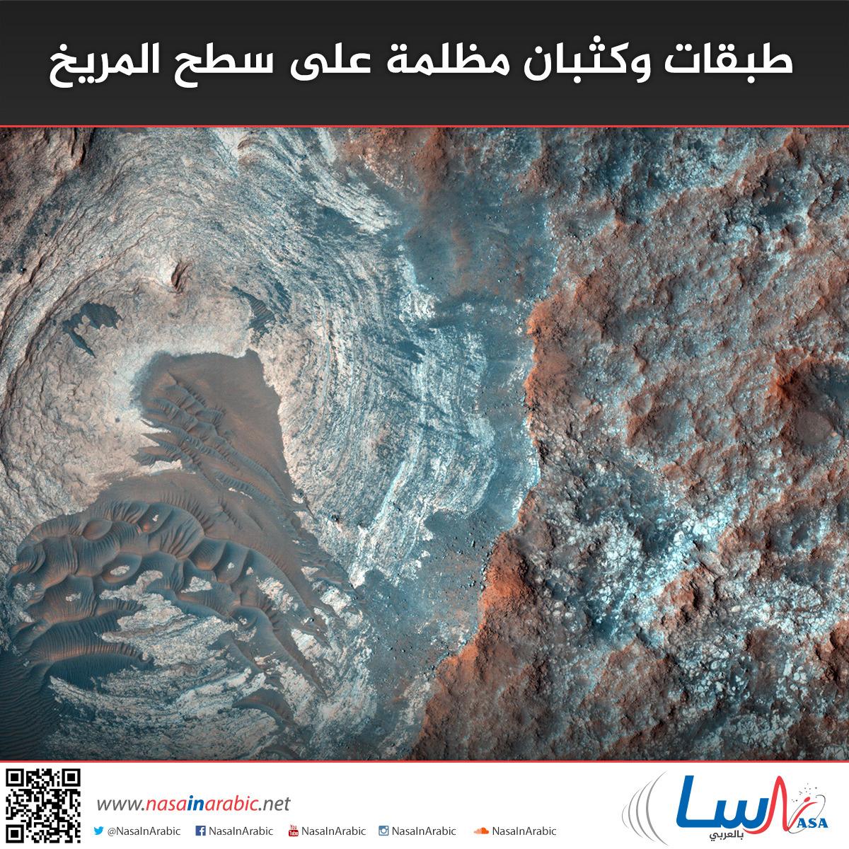 طبقات وكثبان مظلمة على سطح المريخ