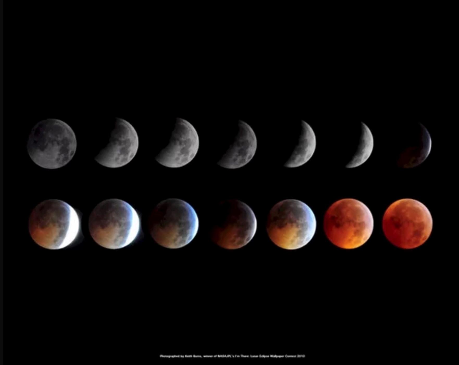 القمر العملاق، والقمر الدامي، وخسوف القمر الكلي