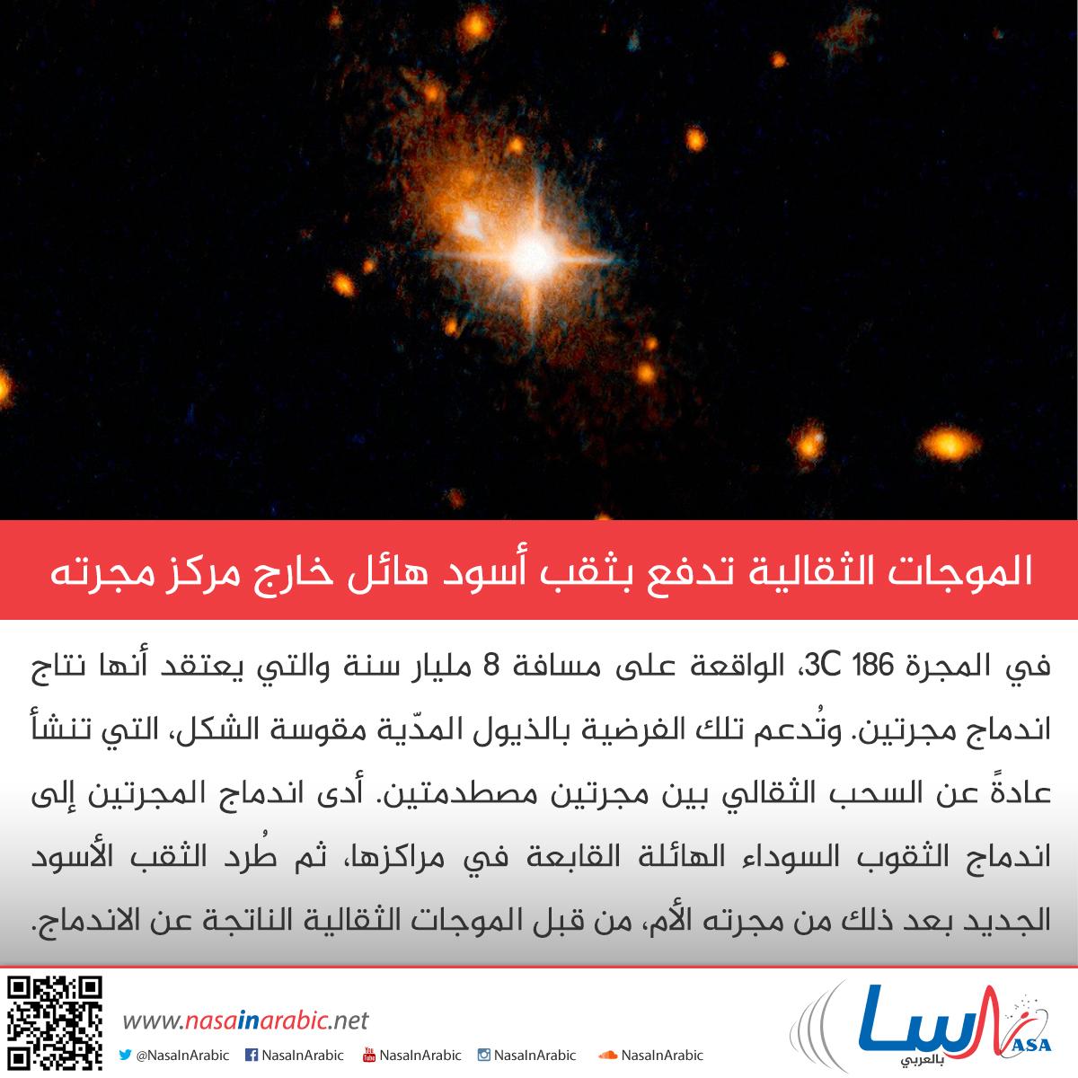 الموجات الثقالية تدفع بثقب أسود هائل خارج مركز مجرته