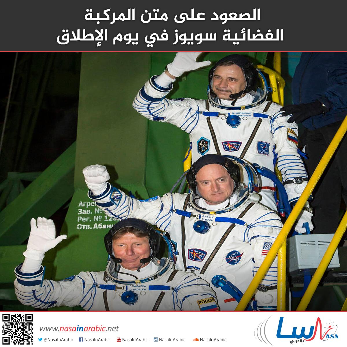 الصعود على متن المركبة الفضائية سويوز في يوم الإطلاق