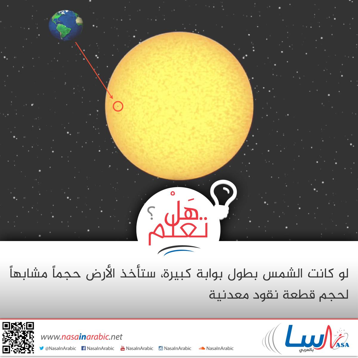 مقارنة بين حجم  الشمس والارض