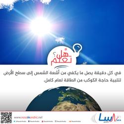 ما هو مقدار الطاقة التي تزودنا بها الشمس كل دقيقة؟