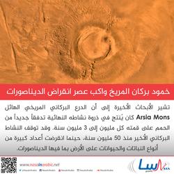 خمود بركان المريخ وانقراض الديناصورات، قد حدث في نفس الوقت!