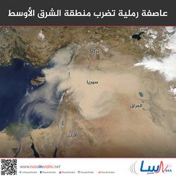 عاصفة رملية تضرب منطقة الشرق الأوسط