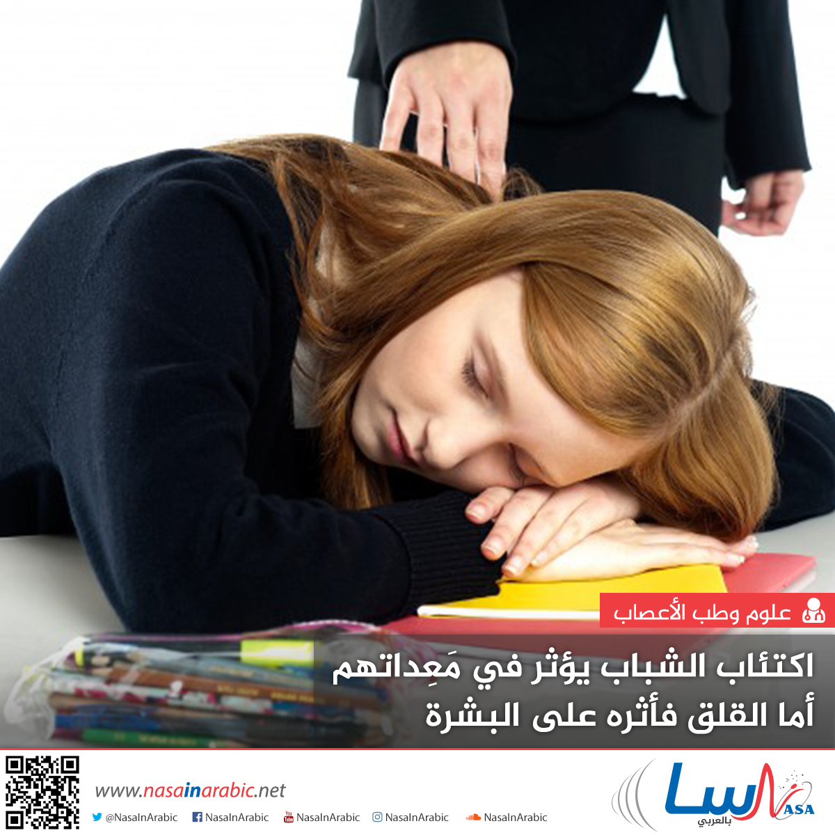 اكتئاب الشباب يؤثر في معداتهم، أما القلق فأثره على البشرة
