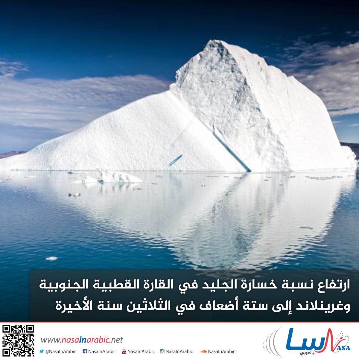 ارتفاع نسبة خسارة الجليد في القارة القطبية الجنوبية وغرينلاند إلى ستة أضعاف في الثلاثين سنة الأخيرة