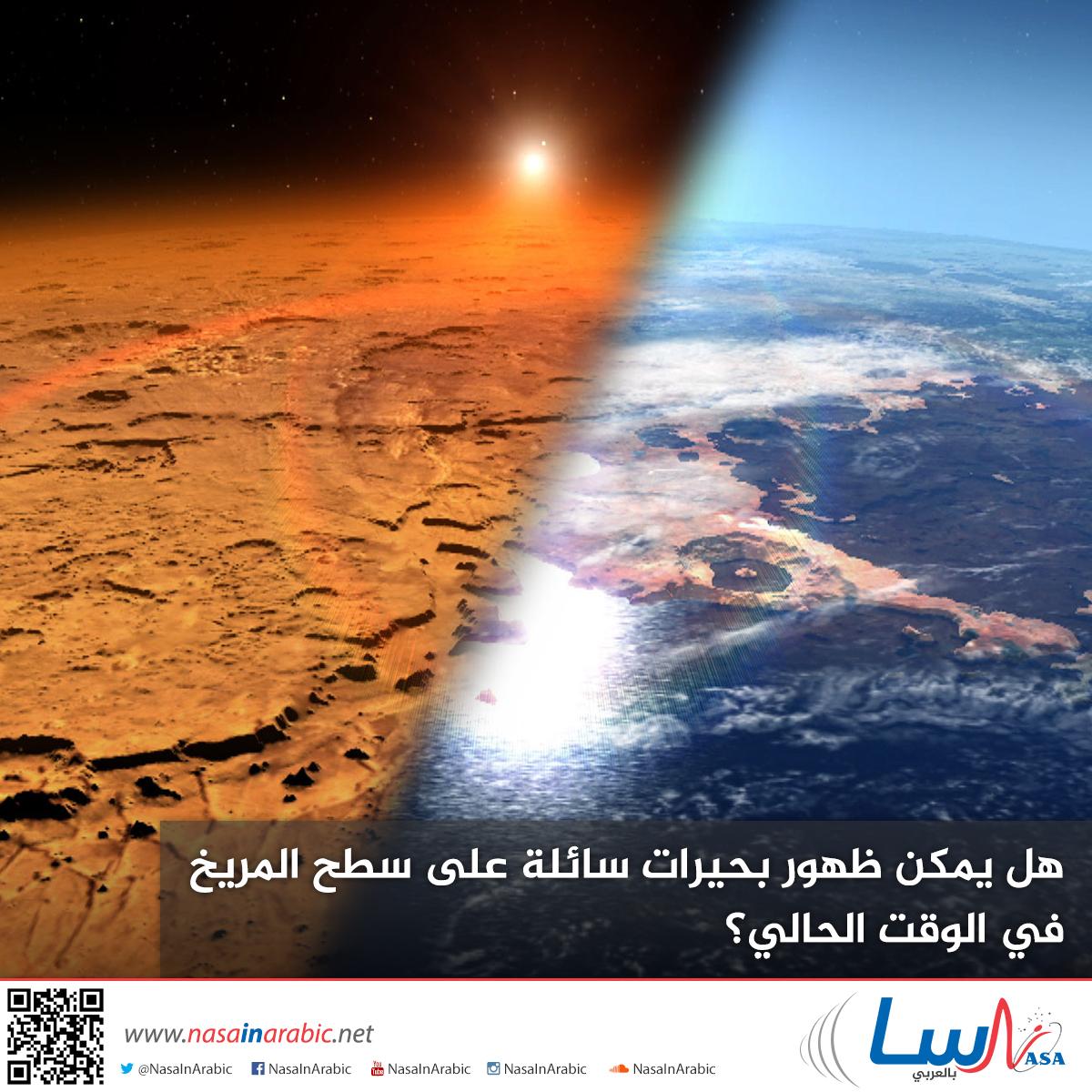 هل يمكن ظهور بحيرات سائلة على سطح المريخ في الوقت الحالي؟
