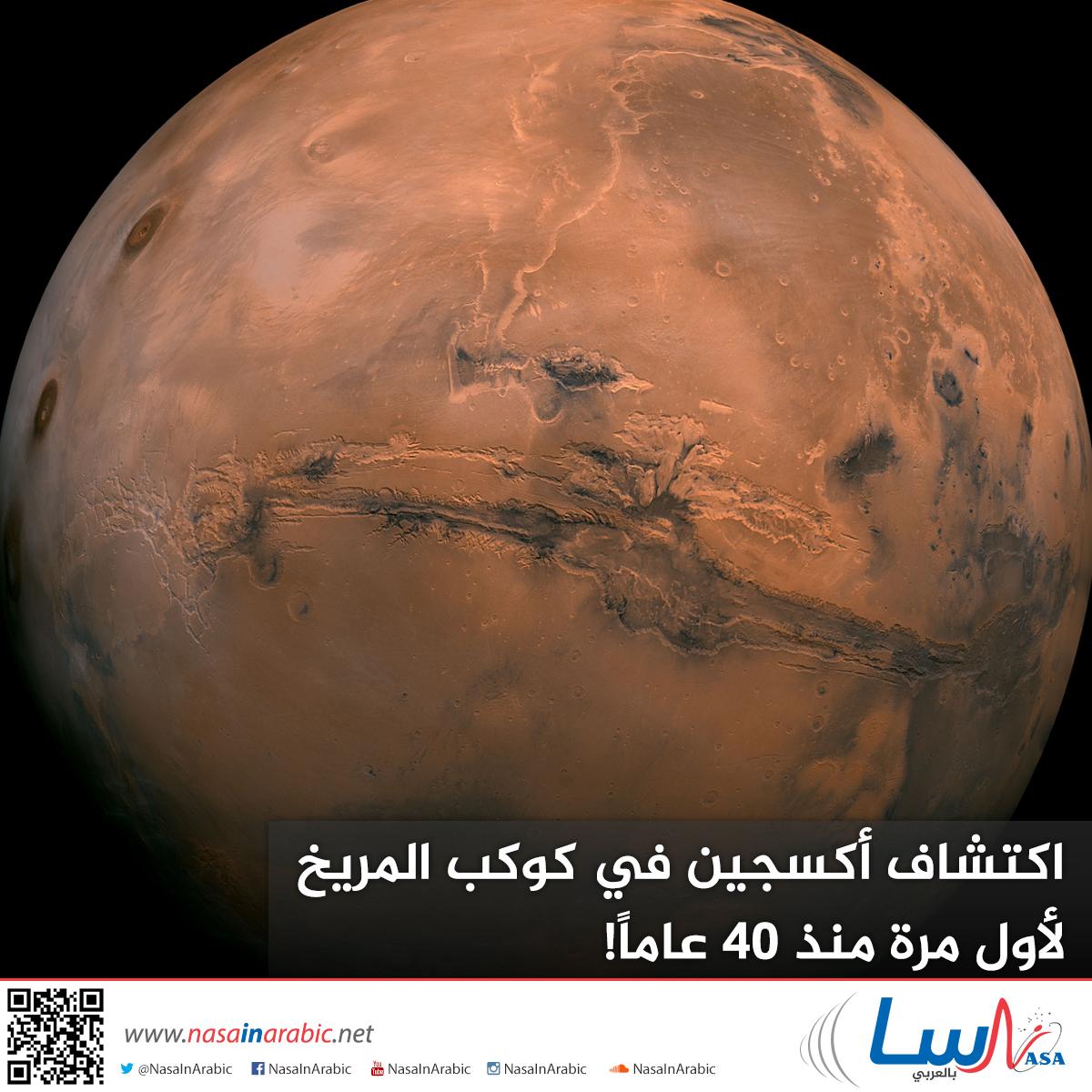 اكتشاف أكسجين في كوكب المريخ لأول مرة منذ 40 عاماً!