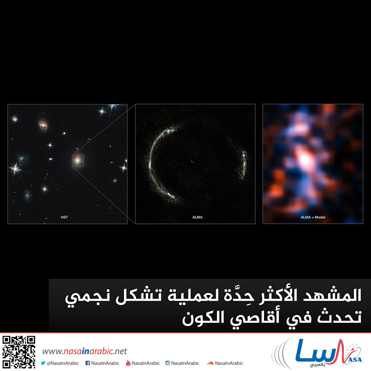 المشهد الأكثر حِدَّة لعملية تشكل نجمي تحدث في أقاصي الكون