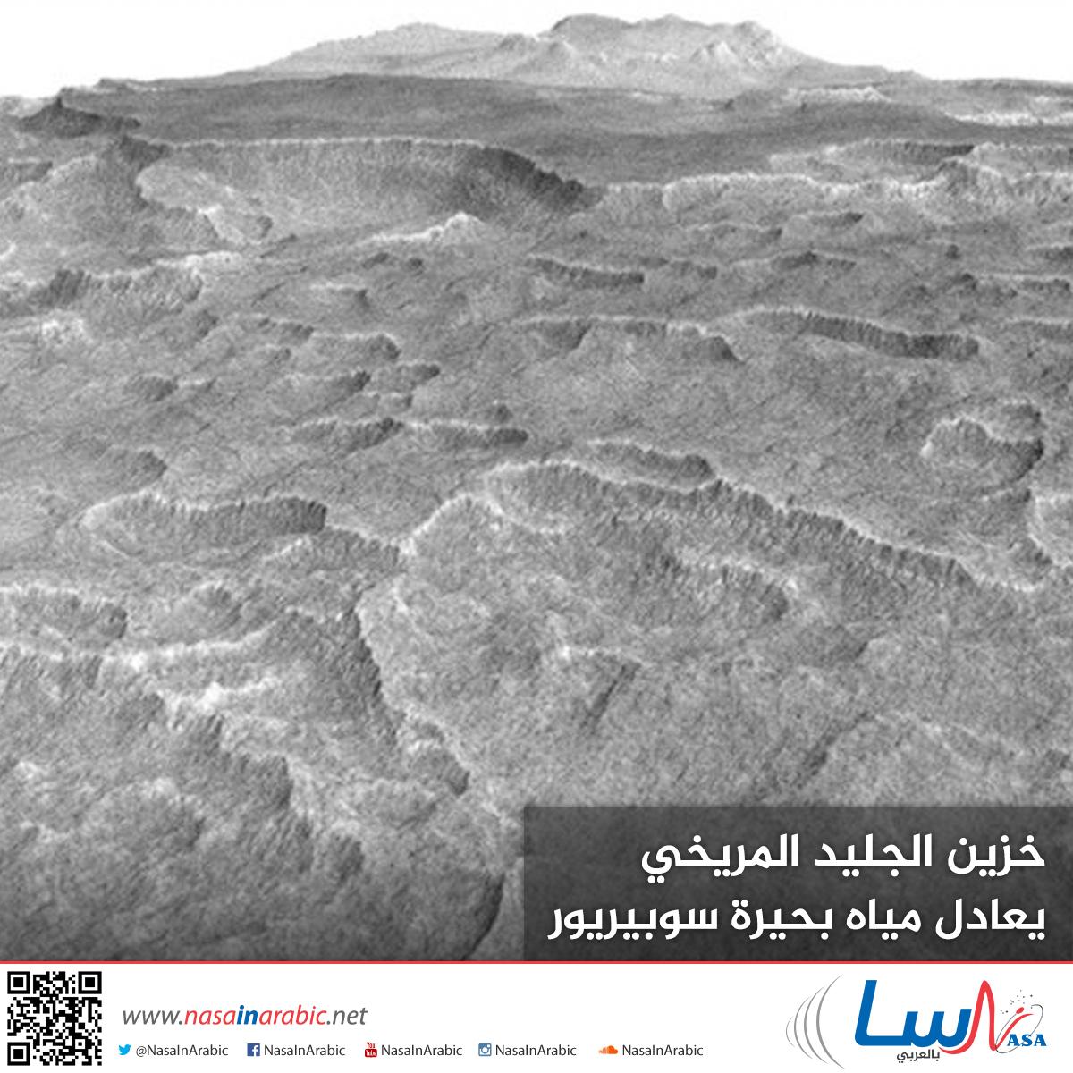 خزين الجليد المريخي يعادل مياه بحيرة سوبيريور