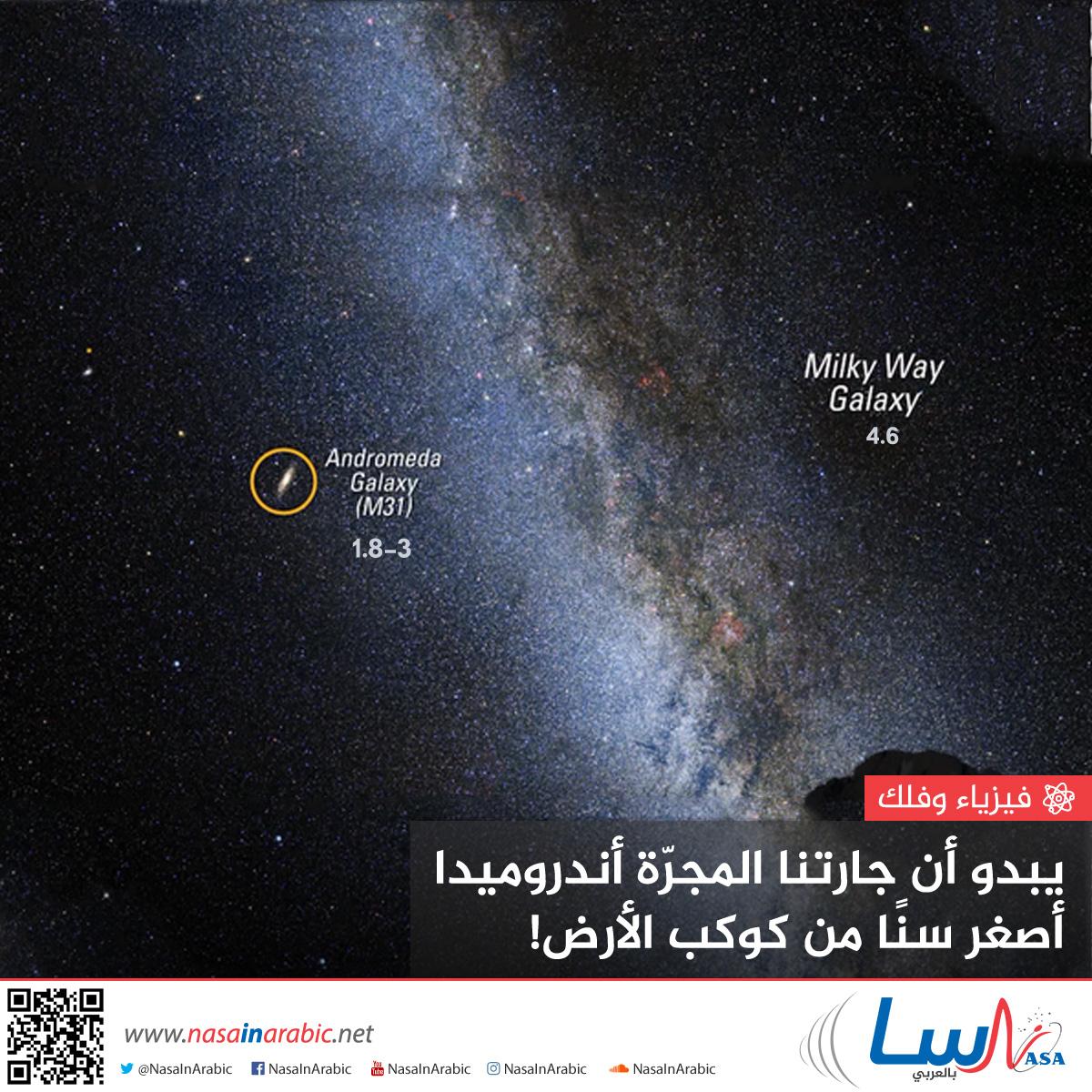 يبدو أن جارتنا المجرة أندروميدا أصغر سنًا من كوكب الأرض!