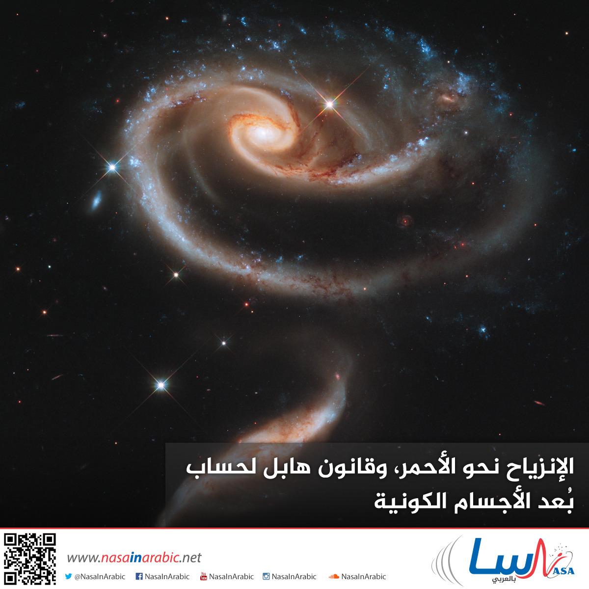 الإنزياح نحو الأحمر، وقانون هابل لحساب بُعد الأجسام الكونية