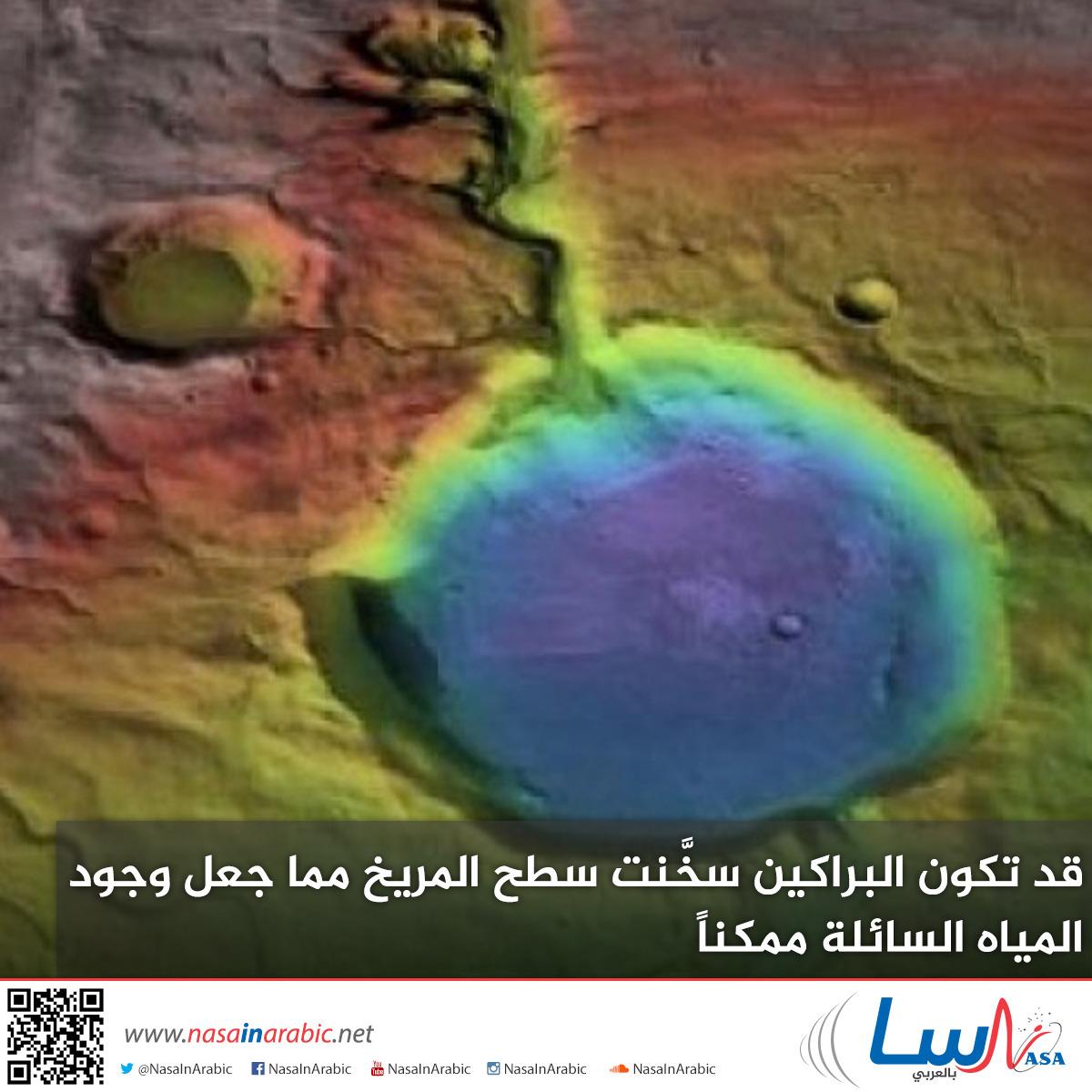 قد تكون البراكين سخَّنت سطح المريخ مما جعل وجود المياه السائلة ممكناً