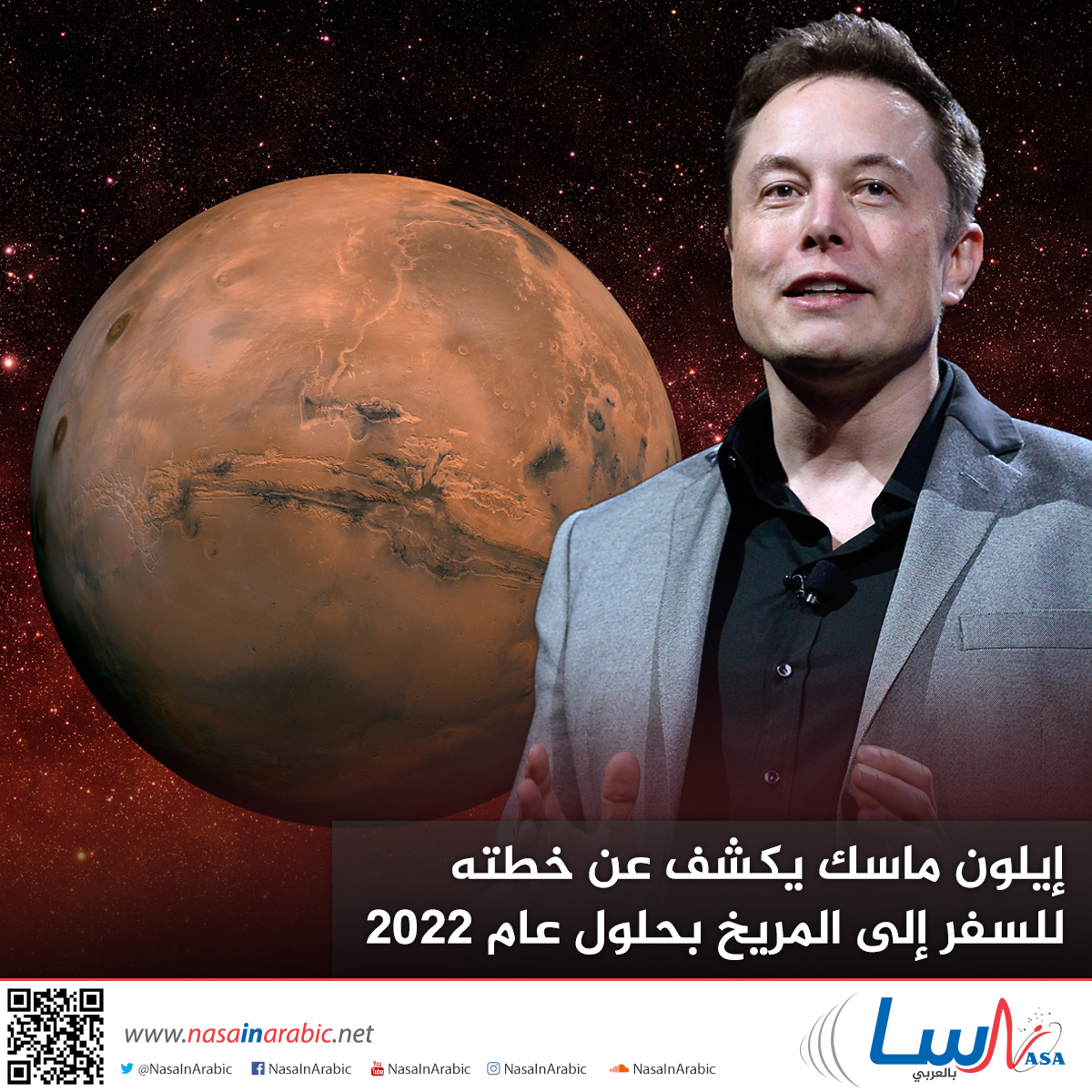 إيلون ماسك يكشف عن خطته للسفر إلى المريخ بحلول عام 2022