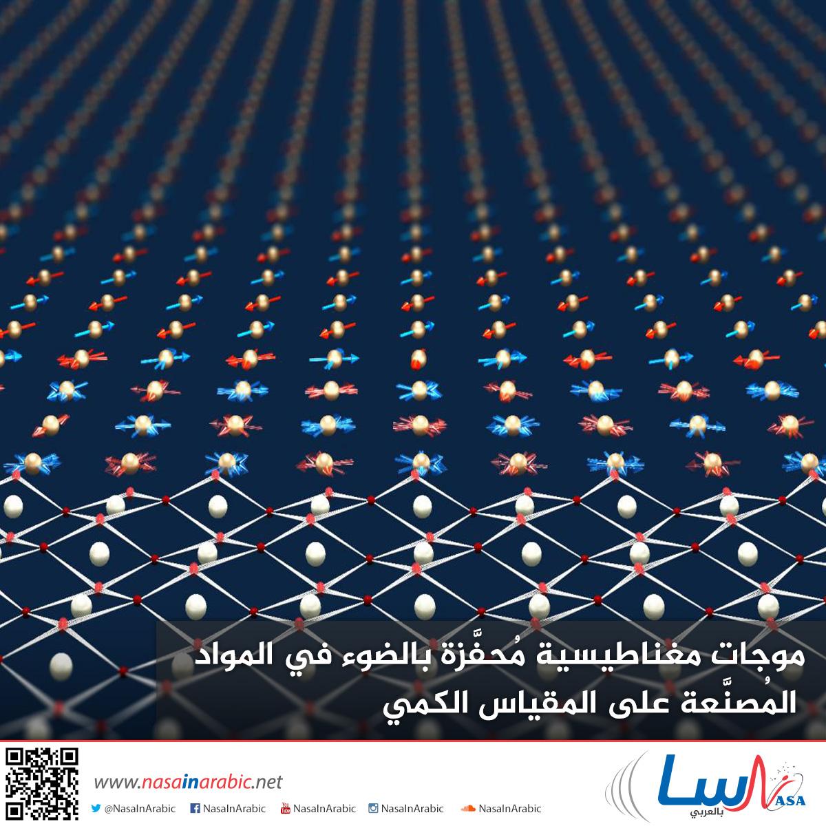 موجات مغناطيسية مُحفَّزة بالضوء في المواد المُصنَّعة على المقياس الكمي