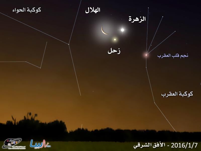 اقتران رباعي رائع يشارك فيه كل من الهلال ونجم قلب العقرب بالإضافة إلى كوكبي  زحل والزهرة