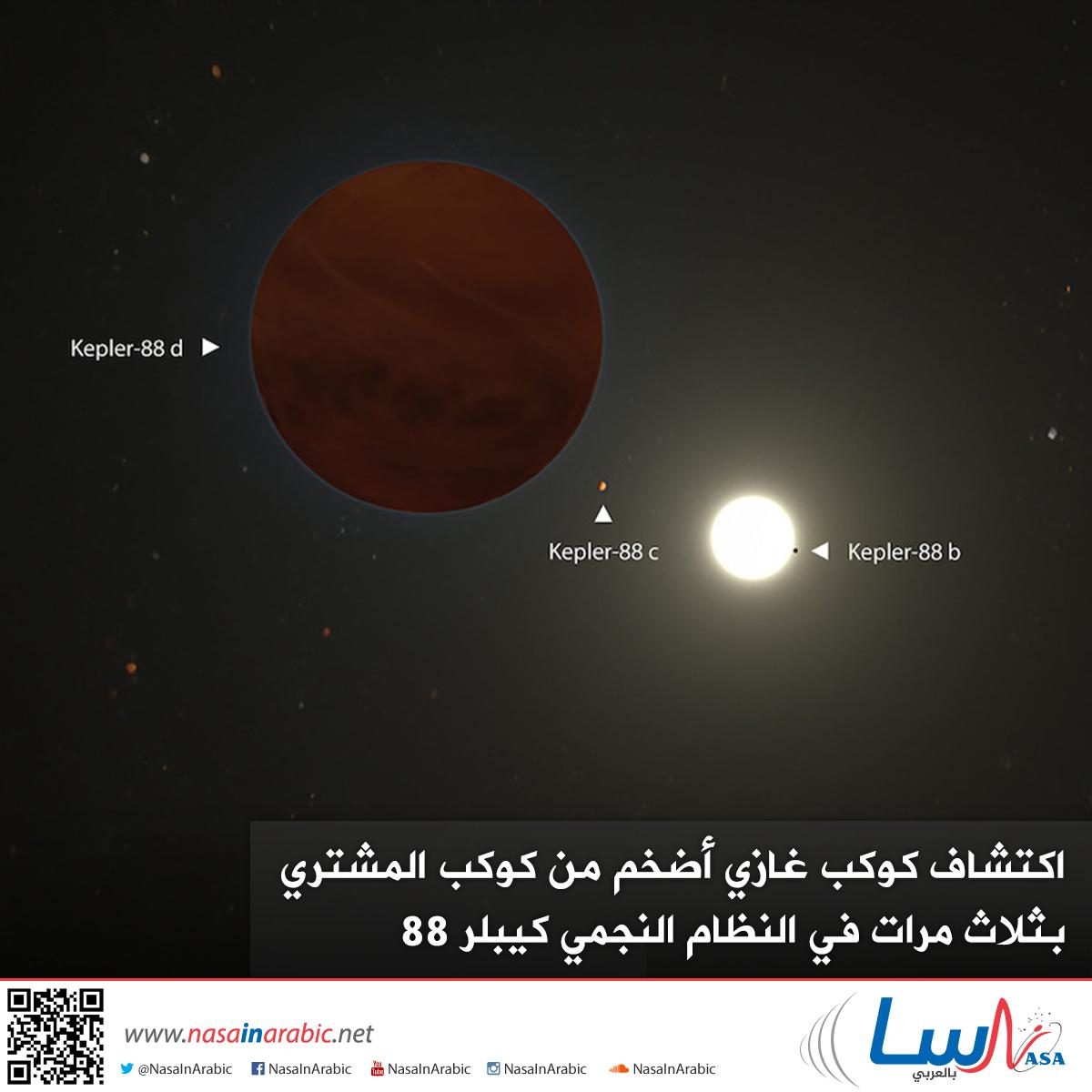 اكتشاف كوكب غازي أضخم من كوكب المشتري بثلاث مرّات في النظام النجمي كيبلر 88