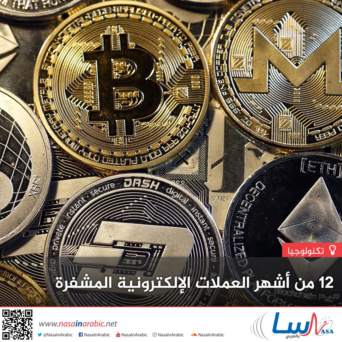 12 من أشهر العملات الإلكترونية المشفرة
