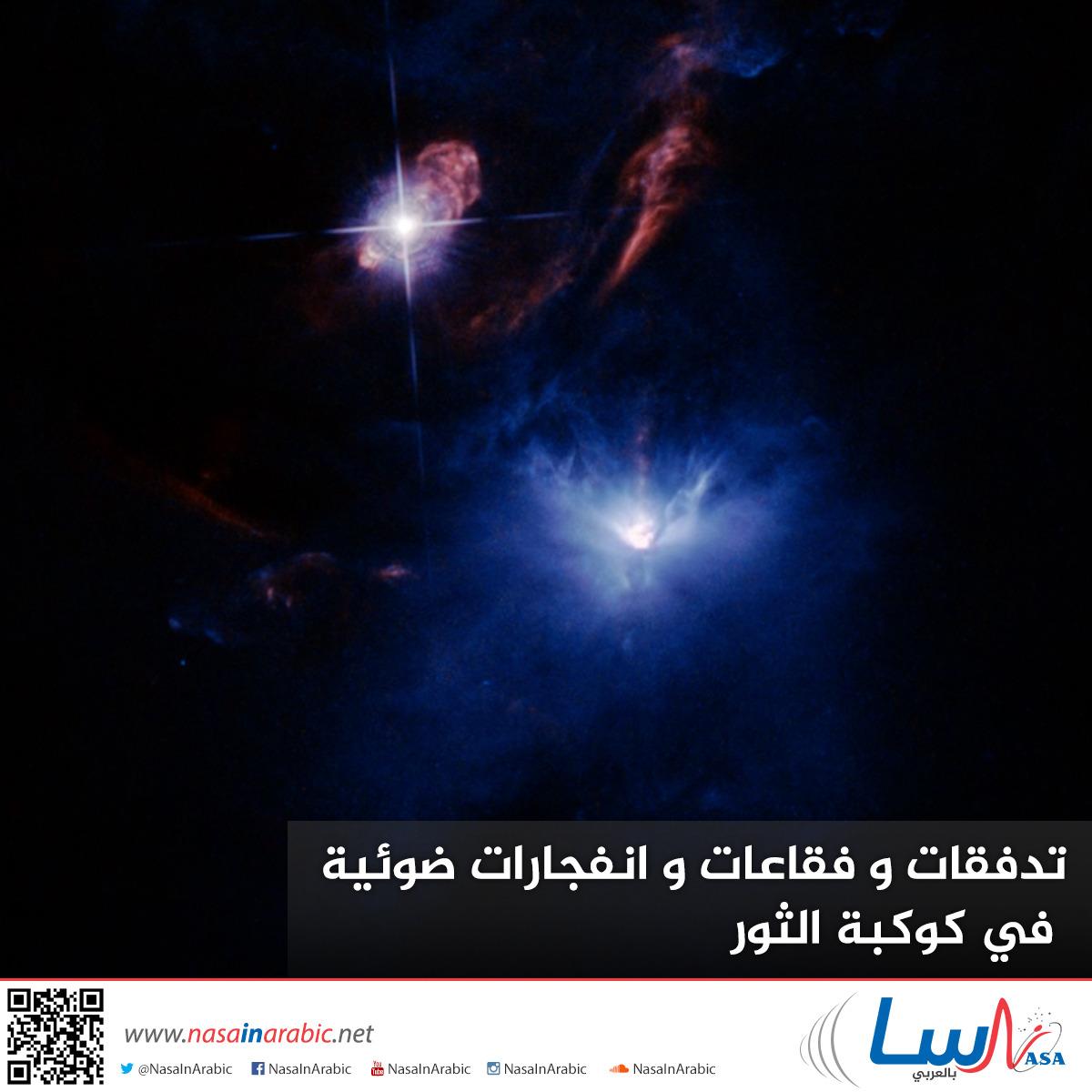 تدفقات و فقاعات و انفجارات ضوئية في كوكبة الثور