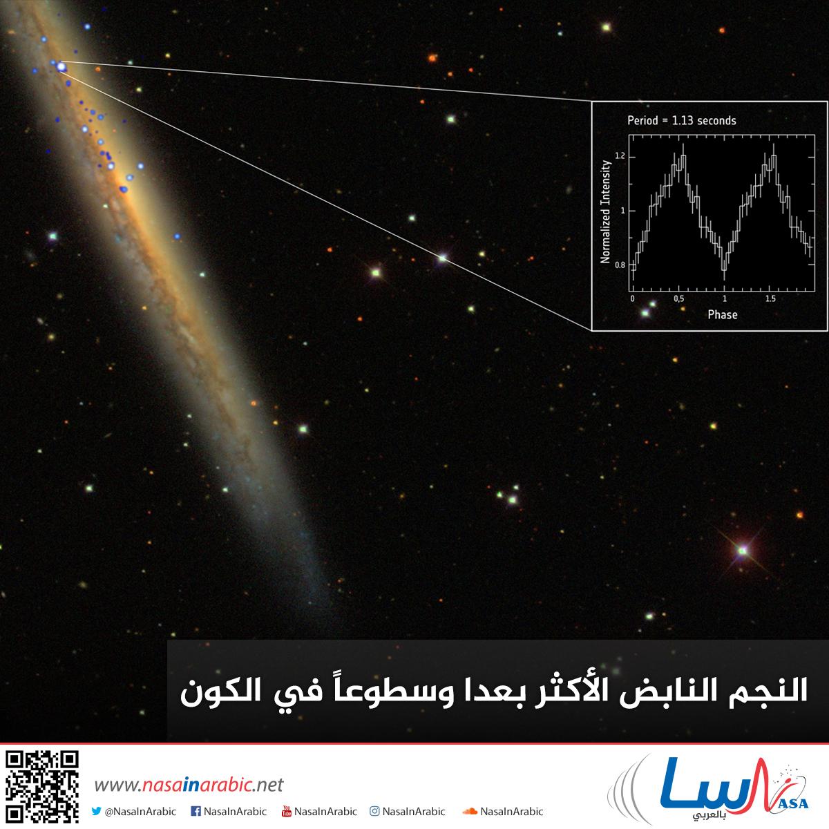 النجم النابض الأكثر بعدا وسطوعاً في الكون