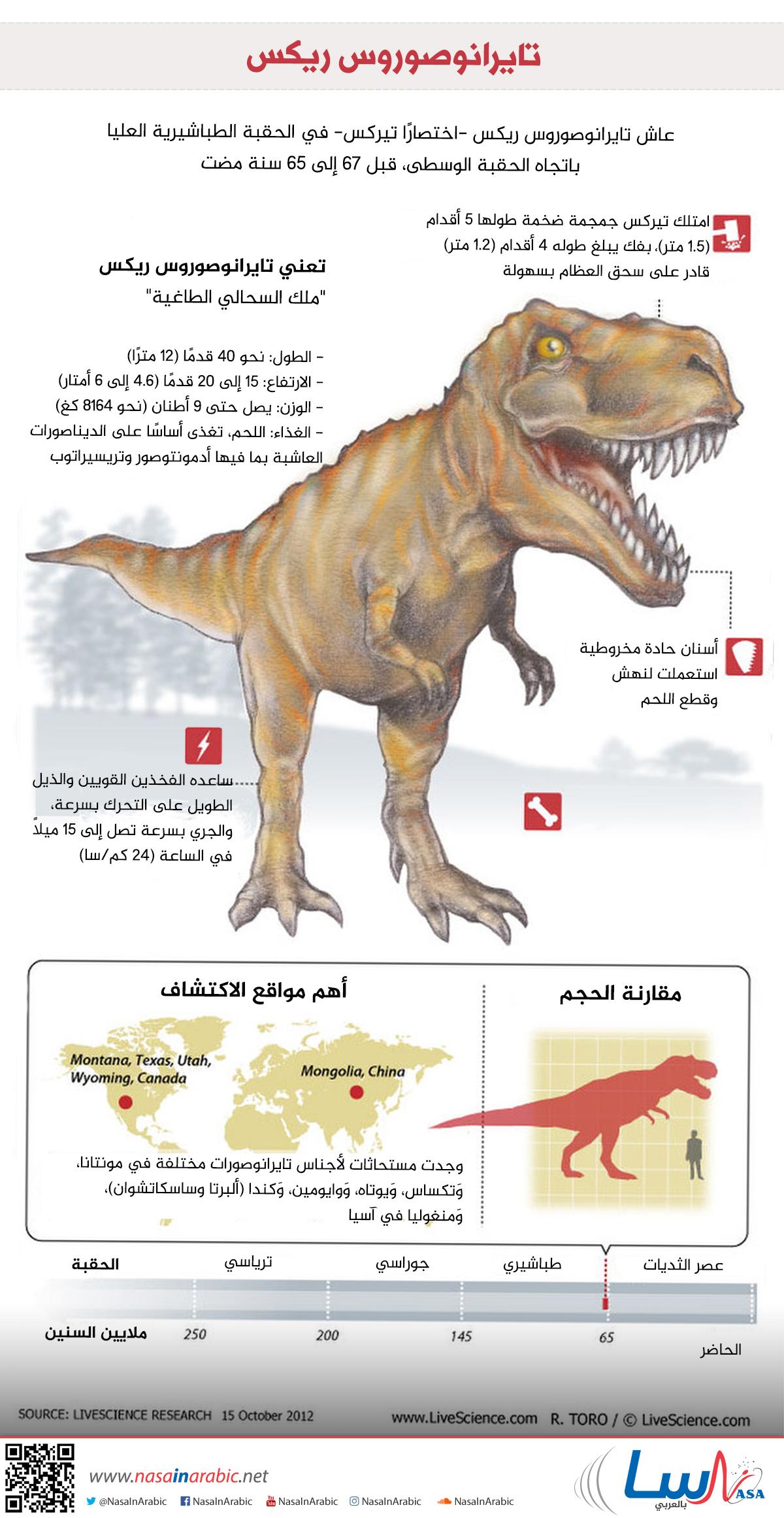 ناسا بالعربي - حقائق مثيرة عن ملك الديناصورات: التيركس