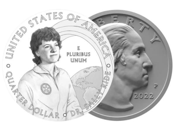 اقتراح وضع صورة سالي رايد على ربع دولار النساء الأمريكيات لسنة 2022.