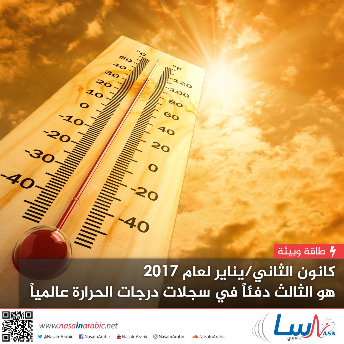 كانون الثاني/يناير لعام 2017 هو الثالث دفئاً في سجلات درجات الحرارة عالمياً