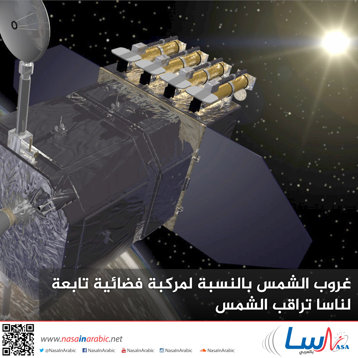 غروب الشمس بالنسبة لمركبة فضائية تابعة لناسا تراقب الشمس