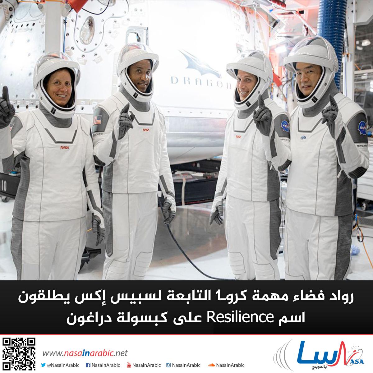 رواد فضاء مهمة كروـ1 التابعة لسبيس إكس يطلقون اسم Resilience على كبسولة دراغون