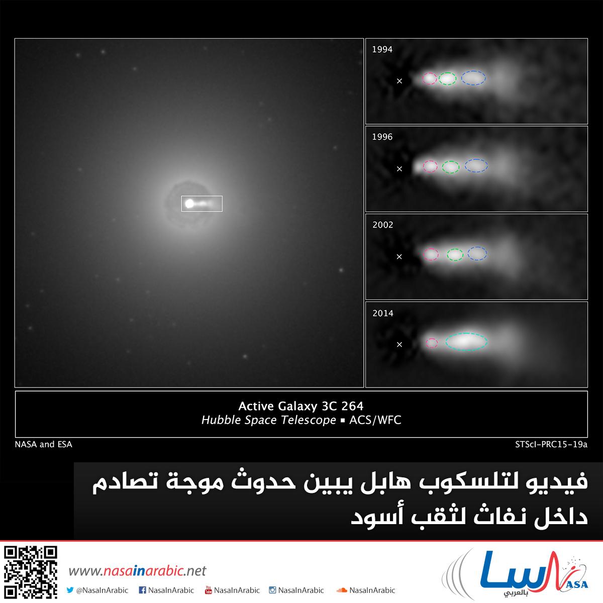 فيديو لتلسكوب هابل يبين حدوث موجة تصادم داخل نفاث لثقب أسود
