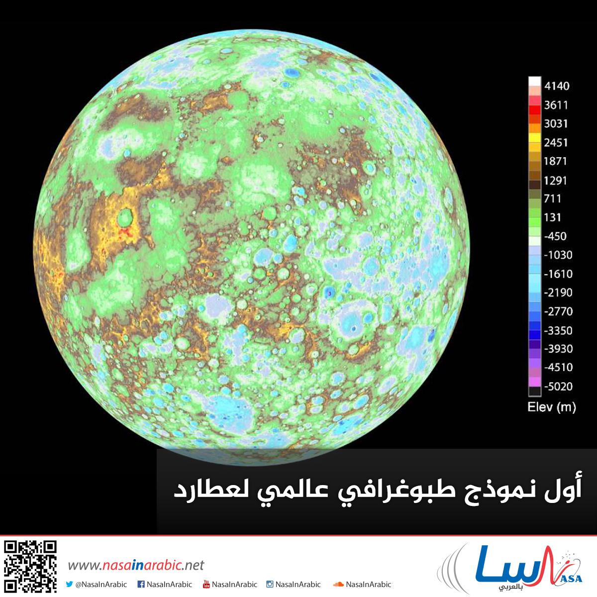 أول نموذج طبوغرافي عالمي لعطارد