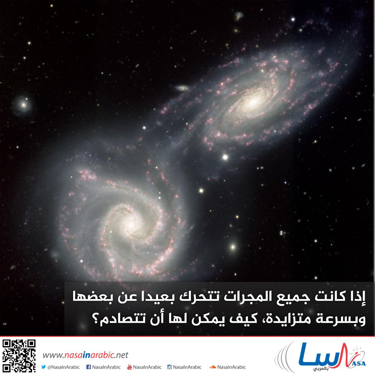 إذا كانت جميع المجرات تتحرك بعيدا عن بعضها وبسرعة متزايدة، كيف يمكن لها أن تتصادم؟