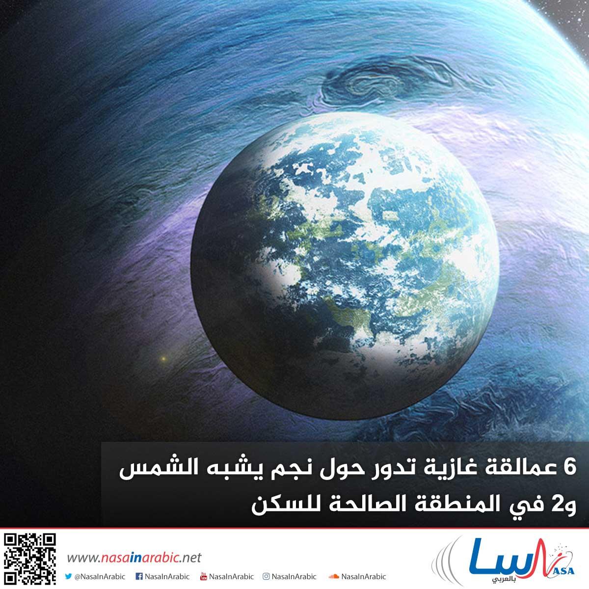 6 عمالقة غازية تدور حول نجم يشبه الشمس، و2 في المنطقة الصالحة للسكن