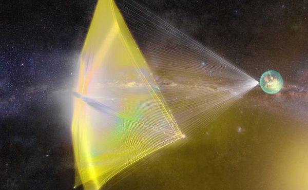 من المخطط أن يكون مشروع (Project Starshot) -وهو مبادرة ترعاها مؤسسة (Breakthrough)- أول رحلة للفضاء بين النجمي في تاريخ البشرية.  المصدر: breakthroughinitiatives.org