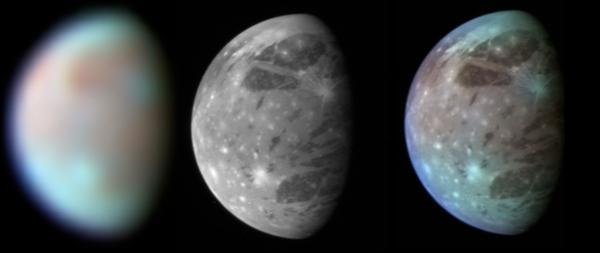 صورة ممنتجة تظهر جانيميد من زاوية نيوهورايزونز التي التقطها مطياف الأشعة تحت الحمراء والآداتين LORRI وLEISA. حقوق الصورة: ناسا/ جامعة جونز هوبكنز/ APL/SwRI