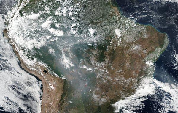 صورة لحرائق غابات الأمازون من الفضاء. حقوق الصورة: Nasa