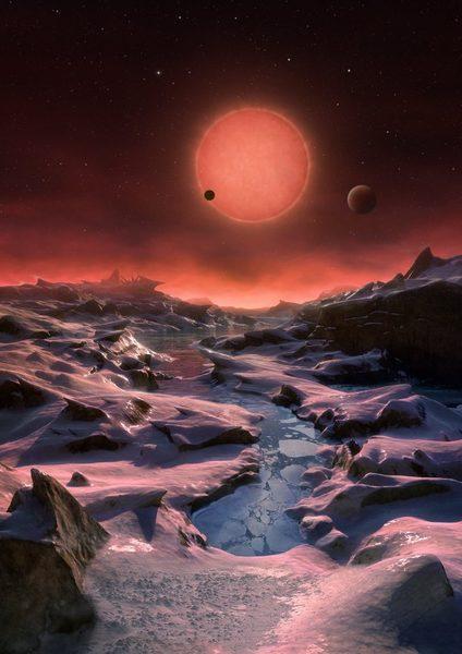 انطباع فني لمظهر أبعد كوكب مكتشف من الكواكب الخارجية الموجودة حول النجم القزم TRAPPIST-1  المصدر: المرصد الأوروبي الجنوبي/ كورنميسير M. Kornmesser