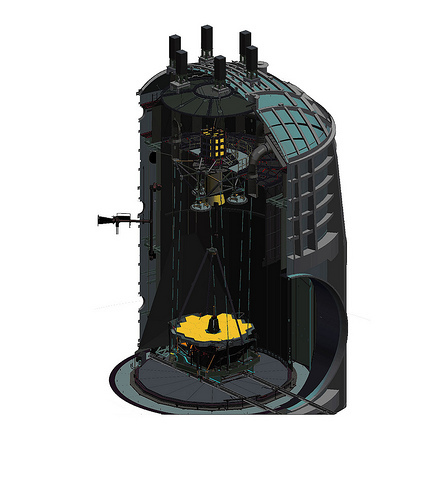 هكذا سيبدو تلسكوب الرحلة عندما يصل إلى الحجرة A.  حقوق الصورة: NASA Johnson