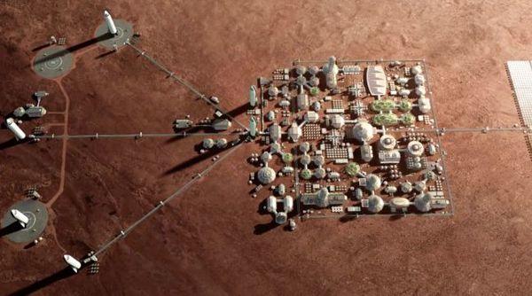 رسم توضيحي لمدينة المريخ مع منصات هبوط ستارشيب التابع لإسبيس إكس. (image credit by SpaceX)