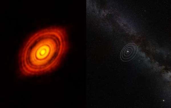 قرصٌ كوكبيٌّ أوليٌ حول نجم هل تاو HL Tau، وهو نجمٌ يشبه الشمس يبلغ من العمر مليون سنةٍ ويبعد 450 سنة ضوئية عن الأرض تقريبًا، ويقع في كوكبة الثور Taurus، ويظهر على يمين الصورة أقزام نظامنا الشمسي. التُقِطت هذه الصورة من قِبل مصفوفة ألما ALMA، وتُظهر الصورة سلسلةً من الحلقات الساطعة متحدة المركز، التي تفصل بينها فجواتٌ، وهي معالمٌ يكافح الفلكيين لشرحها حتى الآن. Credit: ALMA (ESO/NAOJ/NRAO