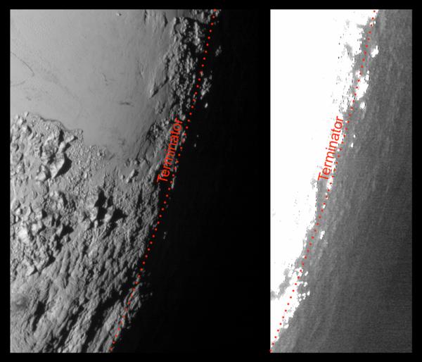 توضح هذه الصورة لبلوتو التي التقطتها المركبة نيوهورايزنز، والمعالجة بطريقتين مختلفتين، كيفية قيام الضباب الساطع الموجود على ارتفاعات عالية في الغلاف الجوي لبلوتو بإنتاج الشفق الذي ينير بهدوء سطح بلوتو قبل الشروق وبعد الغروب. وستسمح ظاهرة الشفق هذه للكاميرات الحساسة على متن نيو هورايزنز بمشاهدة تفاصيل في المناطق المظلمة غير المرئية عادة. النسخة اليمنى من الصورة مشرقة إلى حد كبير كي تستطيع إظهار تفاصيل التضاريس الوعرة المضاءة بالضباب والتي توجد بعد الخط الفاصل لبلوتو، أي الخط الذي يفصل بين الليل والنهار. وقد التقطت هذه الصورة عندما كانت نيو هورايزنز تحلق عابرة بالقرب من بلوتو بتاريخ 14 يوليو/تموز لسنة 2015، وذلك من على مسافة تقدر بـ 50 ألف ميل (أي 80 ألف كم).
