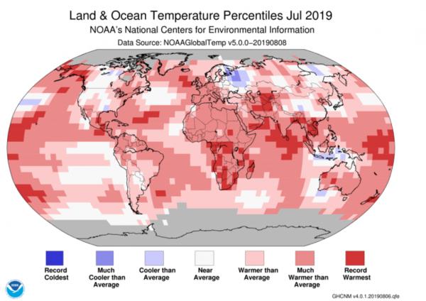 خريطة حرارة عالمية تُظهر أنّ الكوكب بأكمله تقريباً كان أسخن من المتوسط خلال شهر تموز/يوليو، 2019.  حقوق الصورة: NOAA