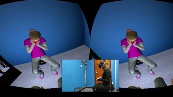 يقترح بحثٌ جديد علاجًا جديدًا لمساعدة مرضى الاكتئاب، من خلال تجسيد المريض لنفسه في واقع افتراضي (virtual reality) على هيئة أفاتار (avatar) لطفل يبكي، والذي من شانه أن يساعد في مرض الاكتئاب. حقوق الصورة: كلية لندن الجامعية.