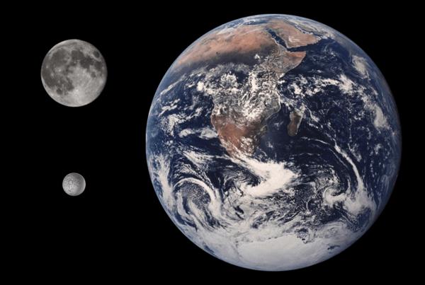 مقارنة بين الأرض، القمر، وأومبرييل من حيث الحجم. Credit: Tom Reding/Public Domain