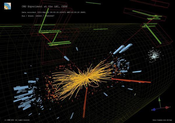 أحداث تصادم بروتون-بروتون حقيقية في CMS يُرصد خلالها الكترونين عاليا الطاقة وميونين عاليا الطاقة أيضاً.