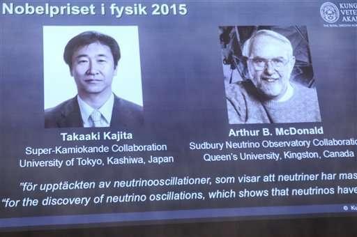 شاشة تُظهر الفائزيْن بجائزة نوبل في الفيزياء لعام 2015 بعدما أعلنت جمعية نوبل عن فوزهما في ستوكهولم، يوم الثلاثاء 6 أكتوبر/تشرين الأول 2015. فاز كل من الياباني تاكاكي كاجيتا (Takaaki Kajita) والكندي آرثر ماكدونالد (Arthur McDonald) بجائزة نوبل في الفيزياء لاكتشافهما تذبذبات النيوترينو. وصرحت الأكاديمية الملكية السويدية للعلوم أن الباحثيْن حققا مساهماتٍ رئيسيةً في التجارب التي بينت أن النيوترينوهات تغيّر هوياتها. المصدر:(Fredrik Sandberg/TT via AP).