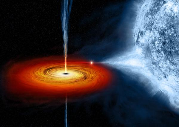 رسم توضيحي لــ Cygnus X-1، وهو ثقب أسود نجمي يقع على مسافة 6070 سنة ضوئية. المصدر: NASA/CXC/M.Weiss