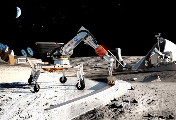 تَصوُّر فنيّ لاستراتيجية البناء التي يعمل عليها (Contour Crafting) وجامعة جنوب كاليفورنيا؛ وقد جرى اختيار هذا النهج من قبل مشروع المفاهيم المتقدمة المبتكرة NIAC التابع لناسا. لدى (Contour Crafting) للتكنولوجيا إمكانات لبناء هياكل آمنة، وموثوقة وبأسعار معقولة على القمر والمريخ، بالإضافة إلى بناء المساكن والمختبرات وغيرها من المرافق. يجري الآن تطوير أنظمة (Contour Crafting) للبناء، وهي تَستغل الموارد في الموقع وتستفيد من الثرى كمادة بناء. (Credits: Contour Crafting and University of Southern California)