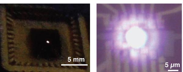 إلى اليسار، نشاهد الإصدار البصري المرئي اللامع القادم من الغرافين المعلق، وفي اليمين صورة مجهرية له. حقوق الصورة: يونغ دوك كيم Young Duck Kim، جامعة كولومبيا للهندسة Columbia Engineering